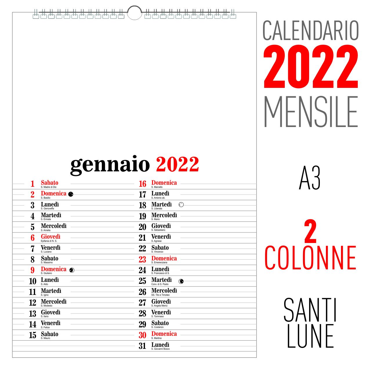 calendario 2022 mensile 2 colonne