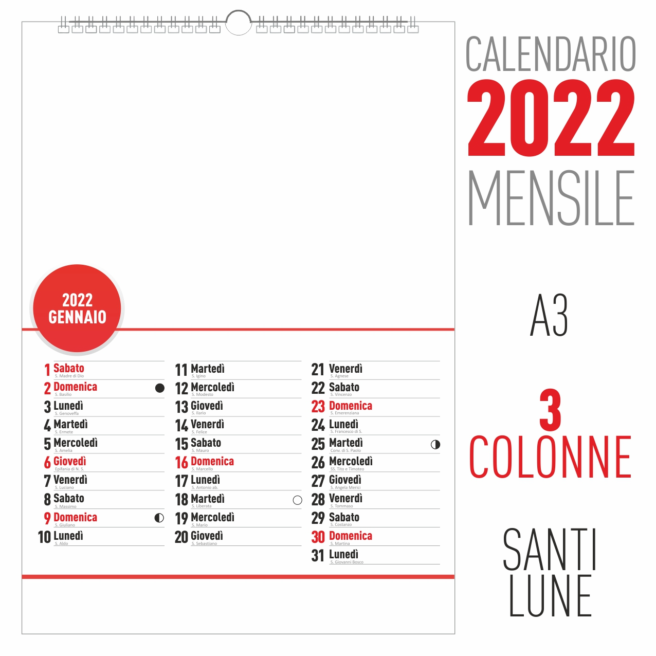 calendario 2022 mensile 3 colonne