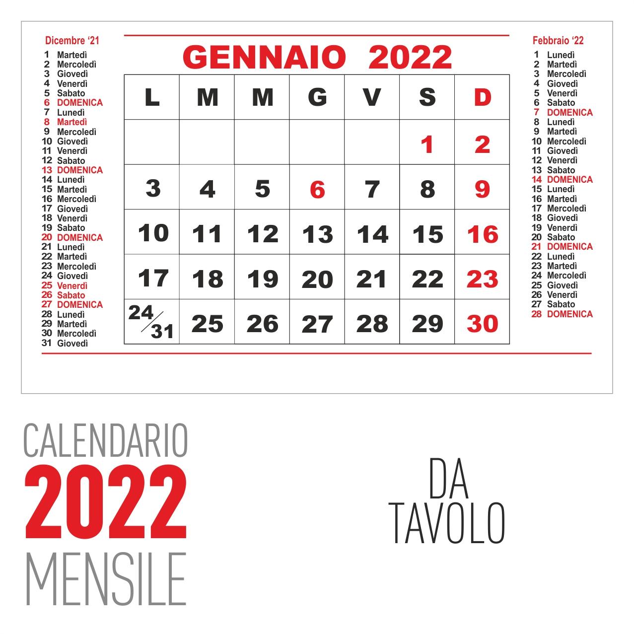 calendario 2022 mensile da tavolo