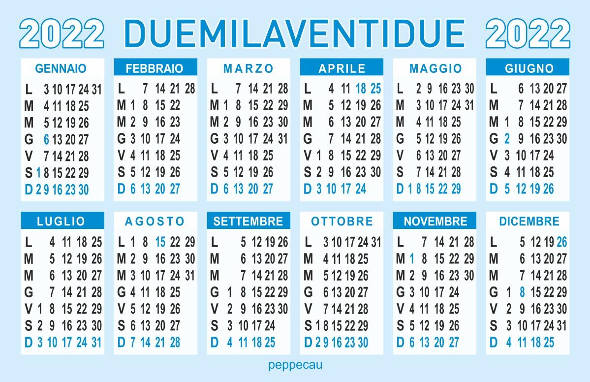 calendario 2022 annuale GRATIS