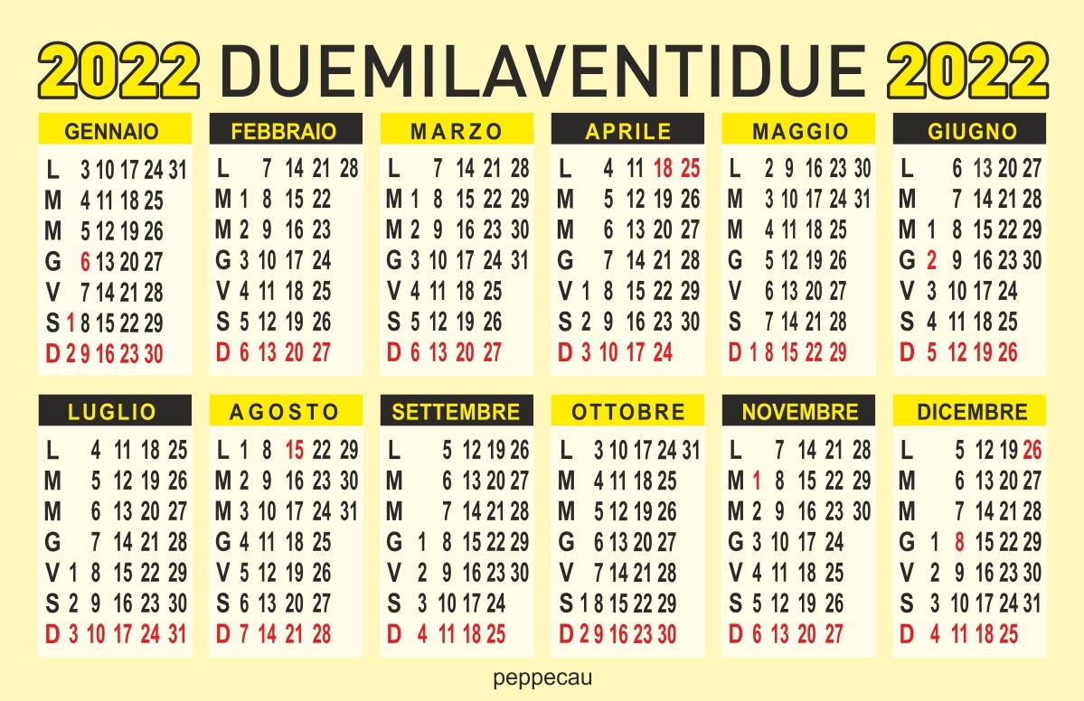 calendario 2022 annuale