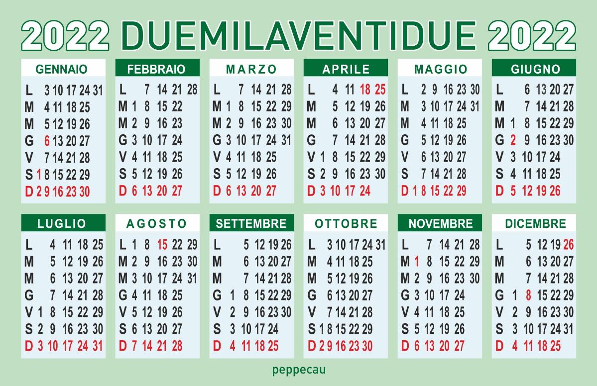calendario 2022 vettoriale GRATIS