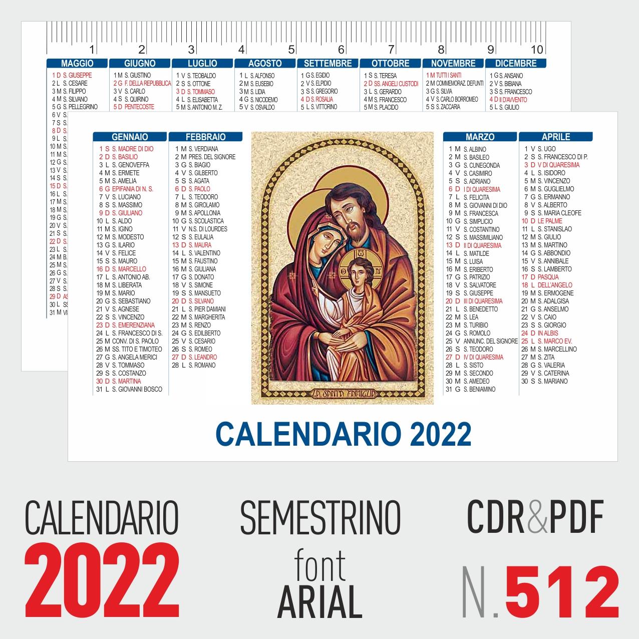calendario 2022 semestrino